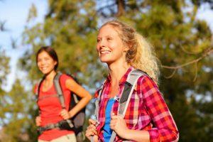 Female traveller hiking