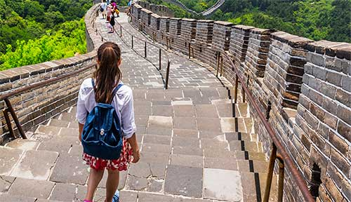 Girl at Great Wall of China