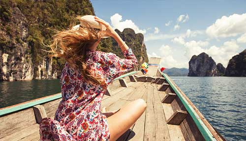 Girl on boat abroad
