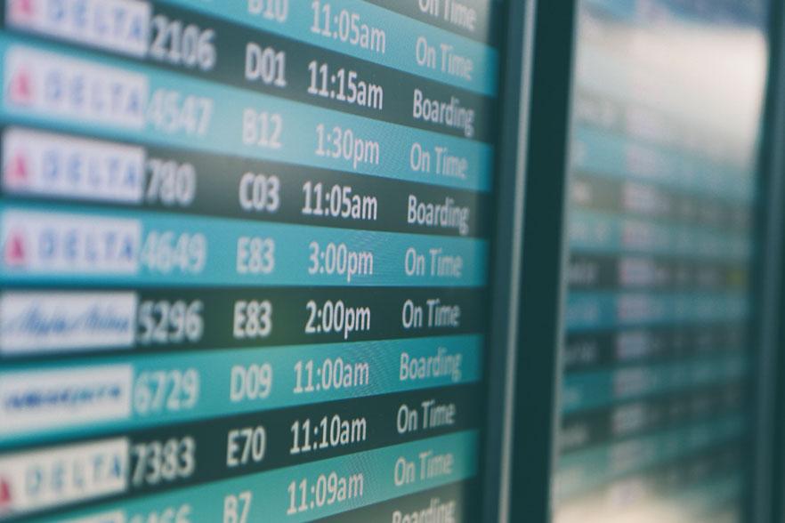 Flight arrivals board