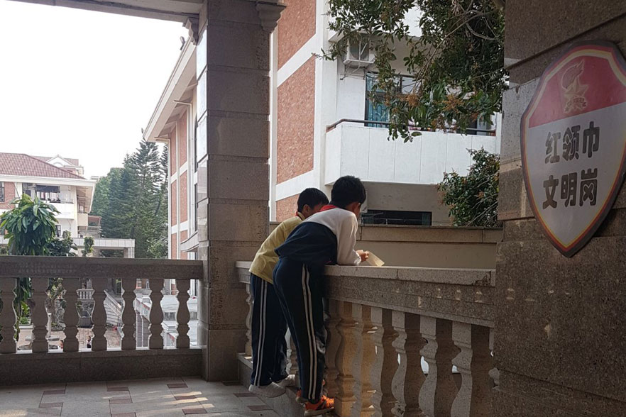 hallway with kids in china
