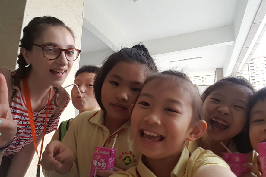 tefl teacher with kids