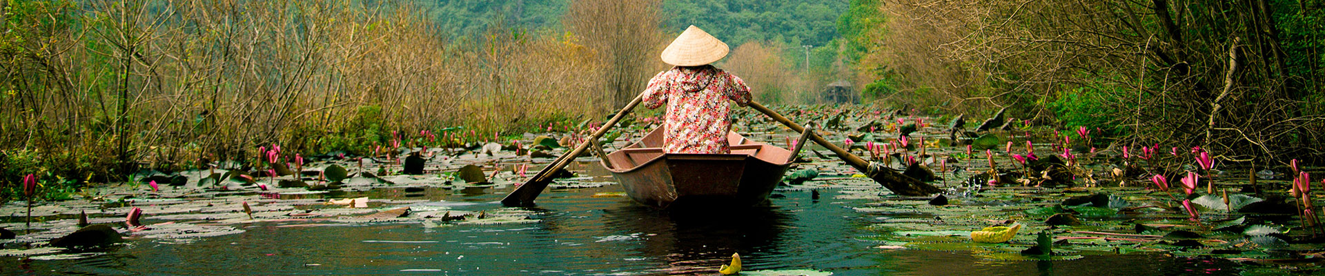 person in boat in vietnam