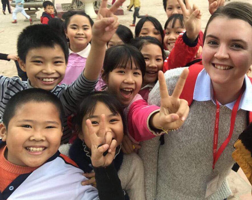 TEFL teacher and students in Vietnam
