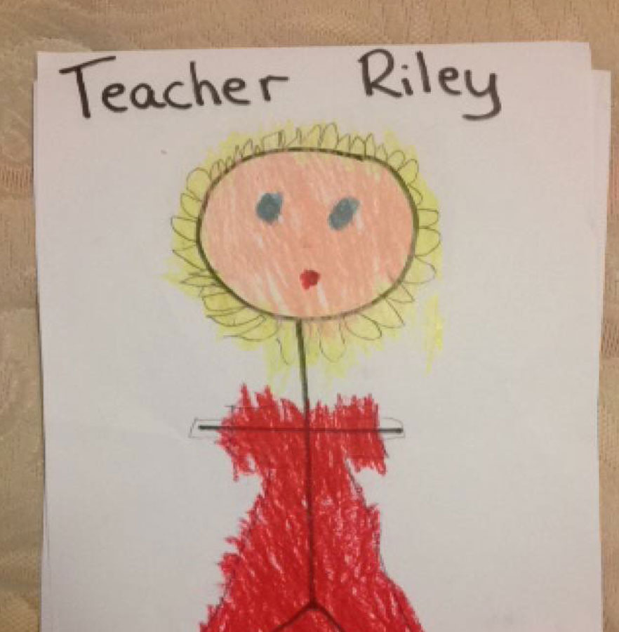 child's drawing of teacher