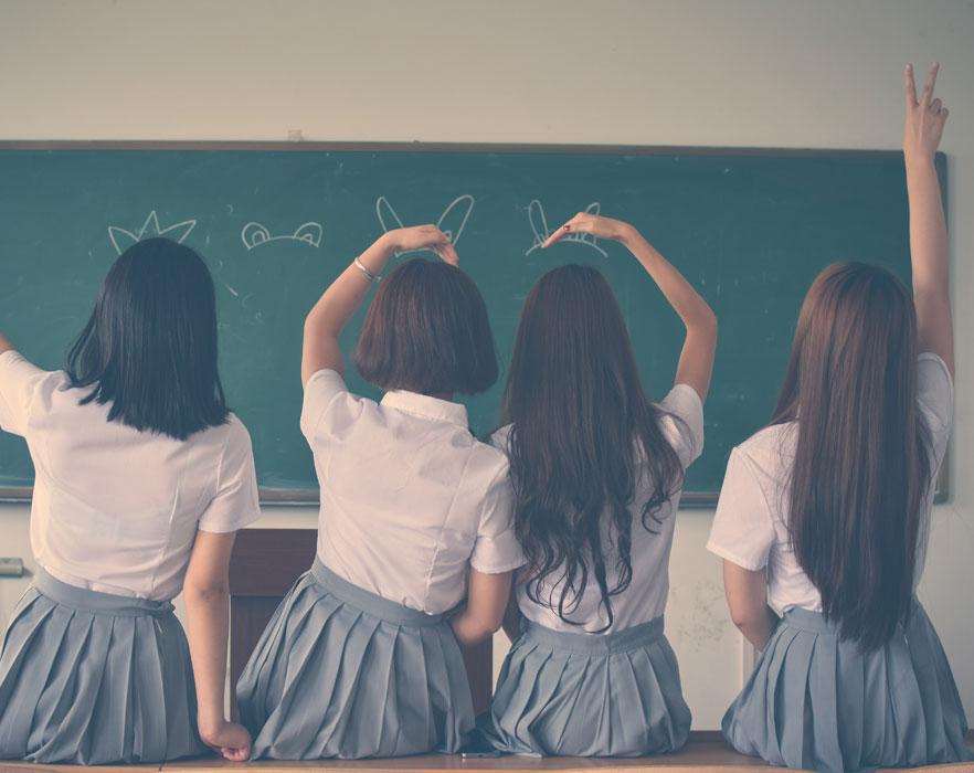 girls in China classroom