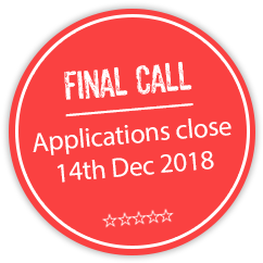 FINAL CALL: Applications close: Friday 14th December