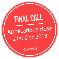 FINAL CALL: Applications close: Friday 21st December