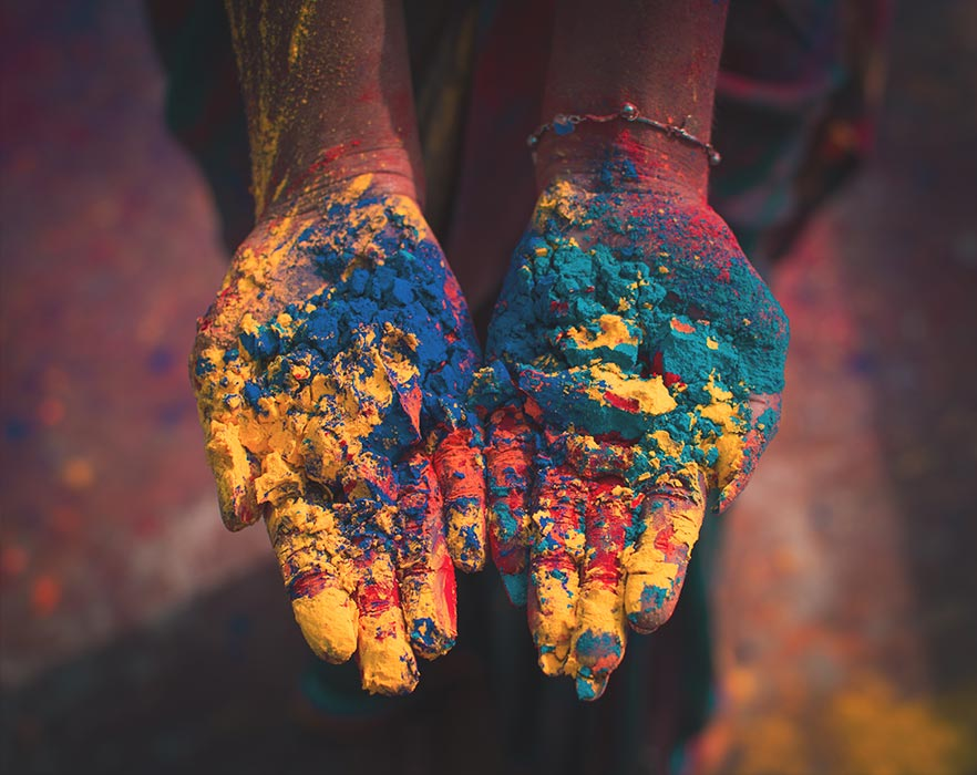 powdered dye on hands