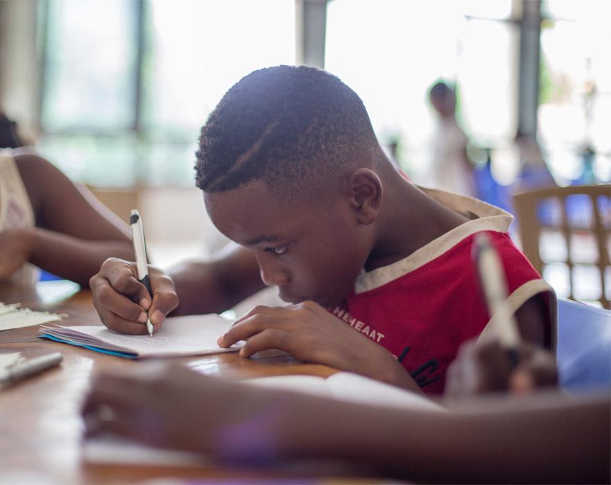 school boy drawing