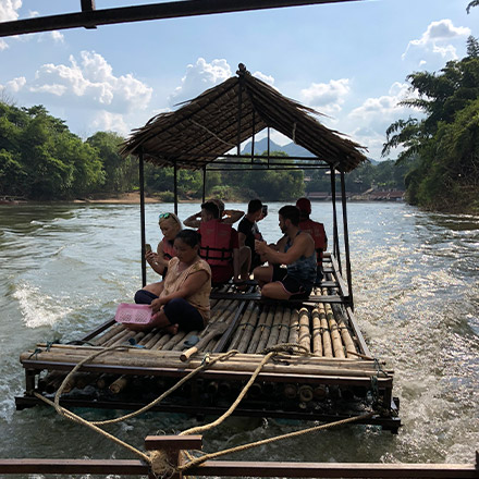 raft on river in thailand