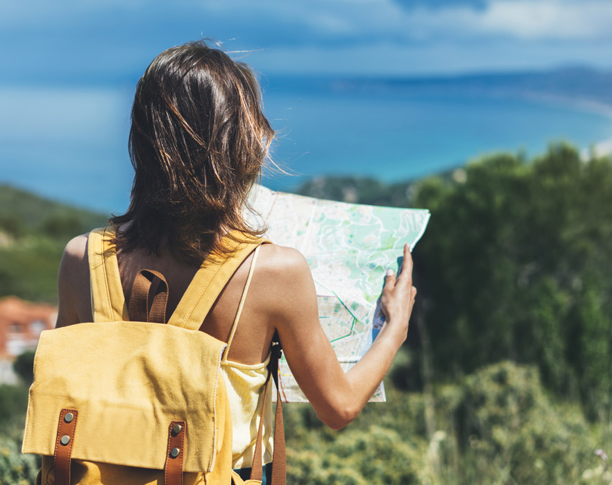 Girl navigating with map
