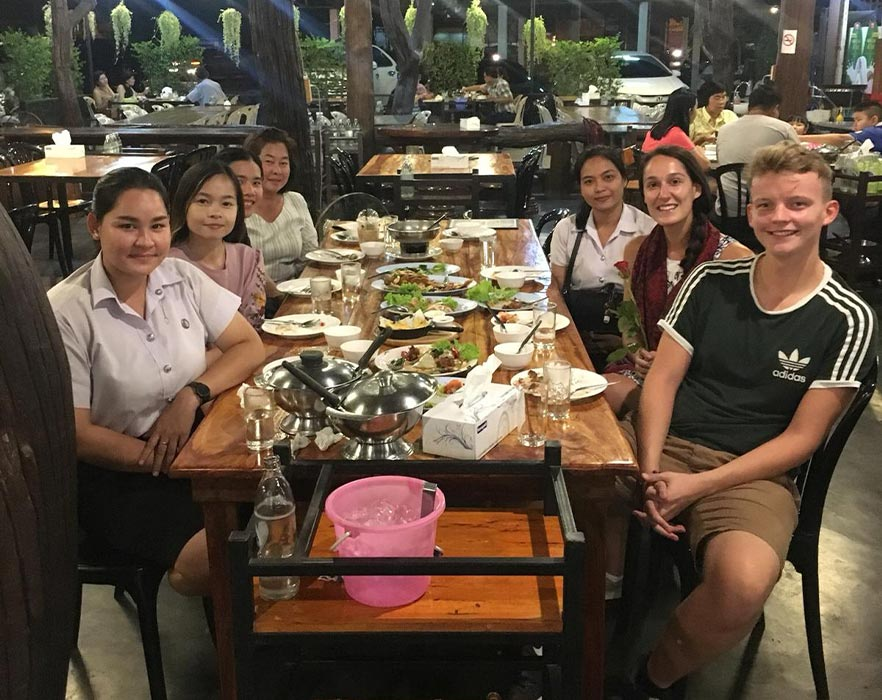 tefl teachers at a meal