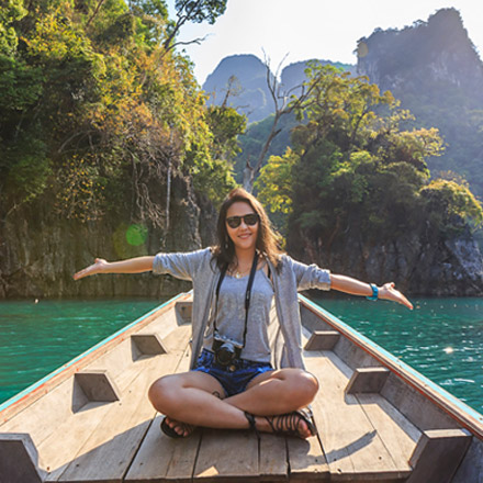 Girl in Thailand on boat