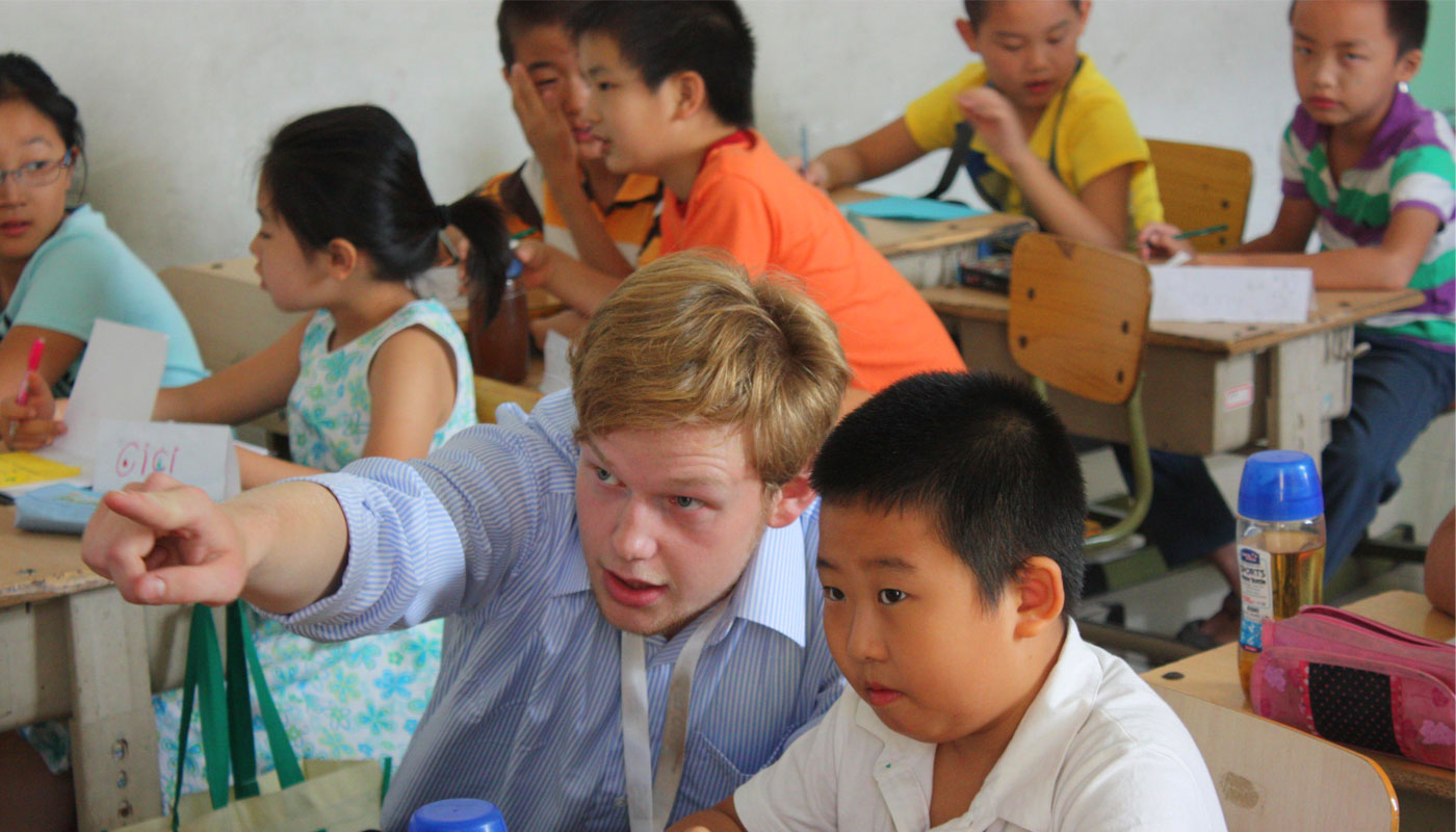 TEFL teacher with students in China
