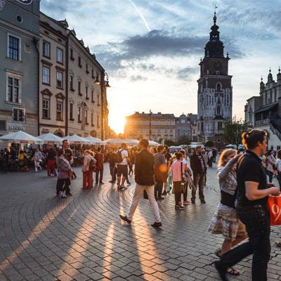 A city square in Poland