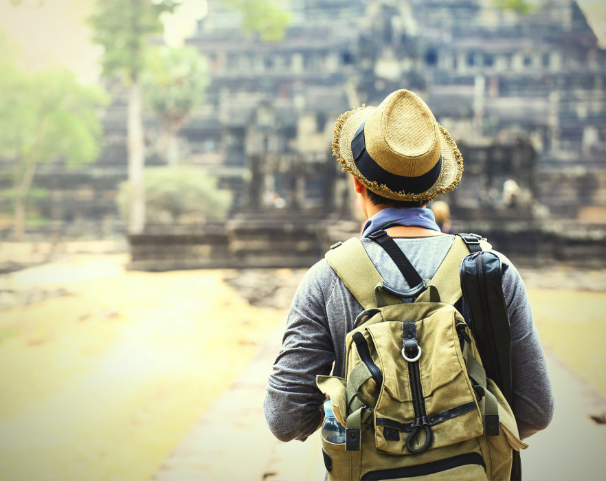 Man with backpack in Cambodia