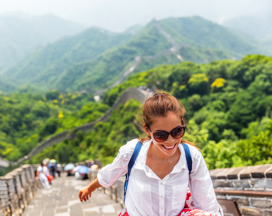 Woman walking on the Great Wall of China