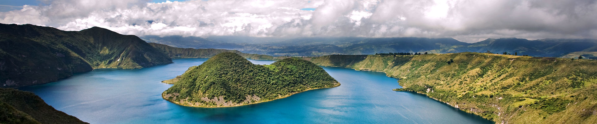 A Green hill and blue water in Ecuador