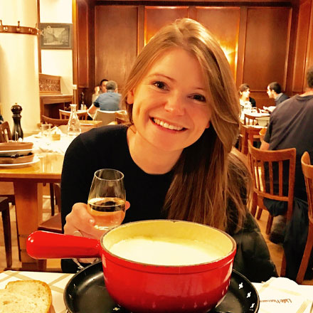 Jenny eating fondue