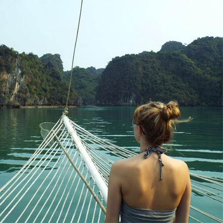 Molly on a boat in Vietnam