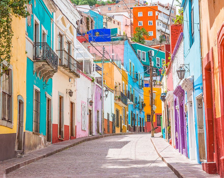 Colorful alleys and streets in Guanajuato city, Mexic