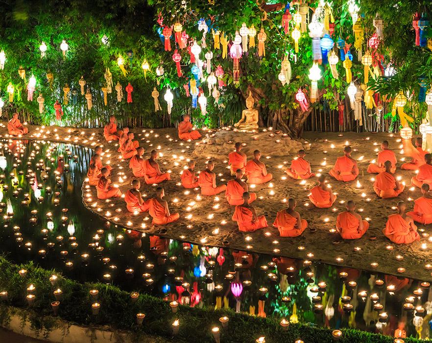 Budhist in Prayer in Thailand
