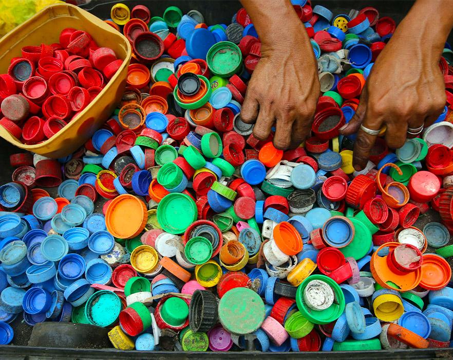 Colourful bottle caps