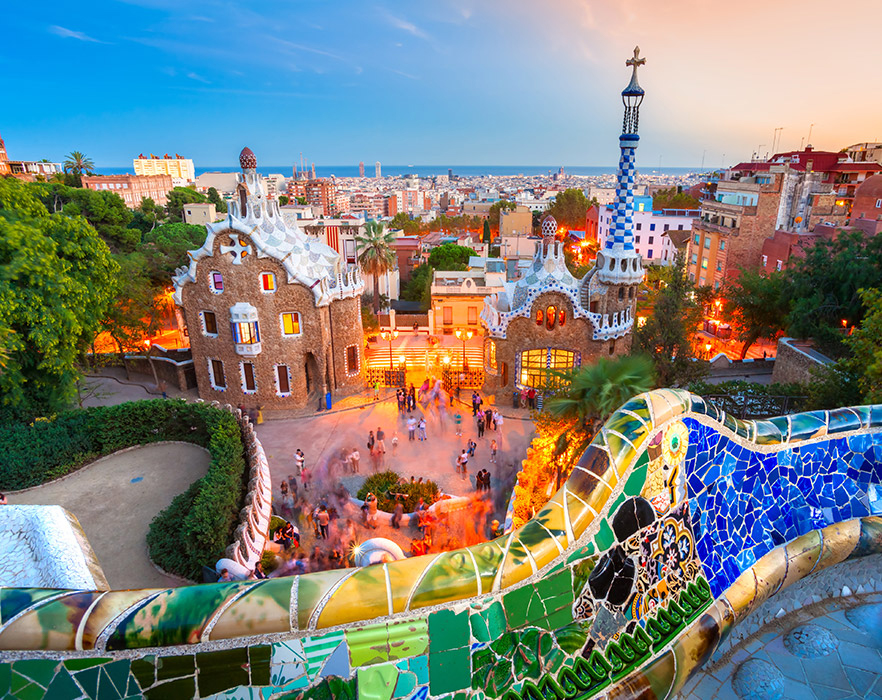 Colourful buildings in Barcelona, Spain