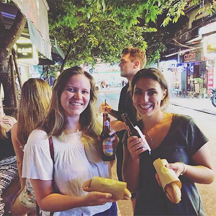 Elizabeth and friend at night market - Vietnam