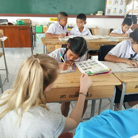 TEFL teacher in classroom with students