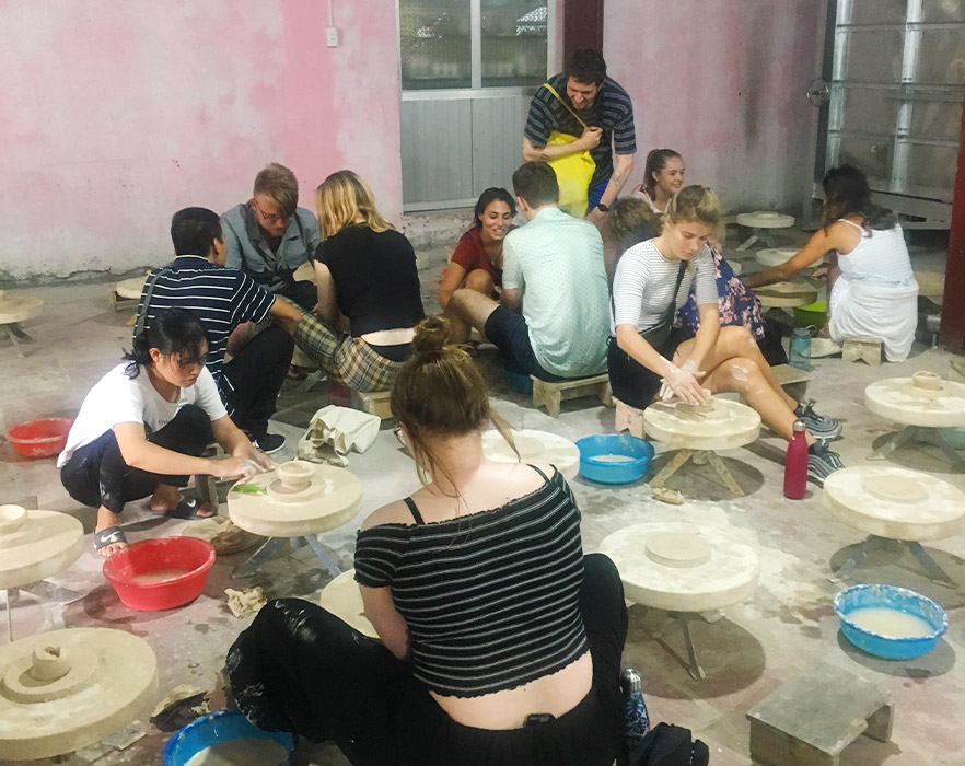 Emily during pottery lessons