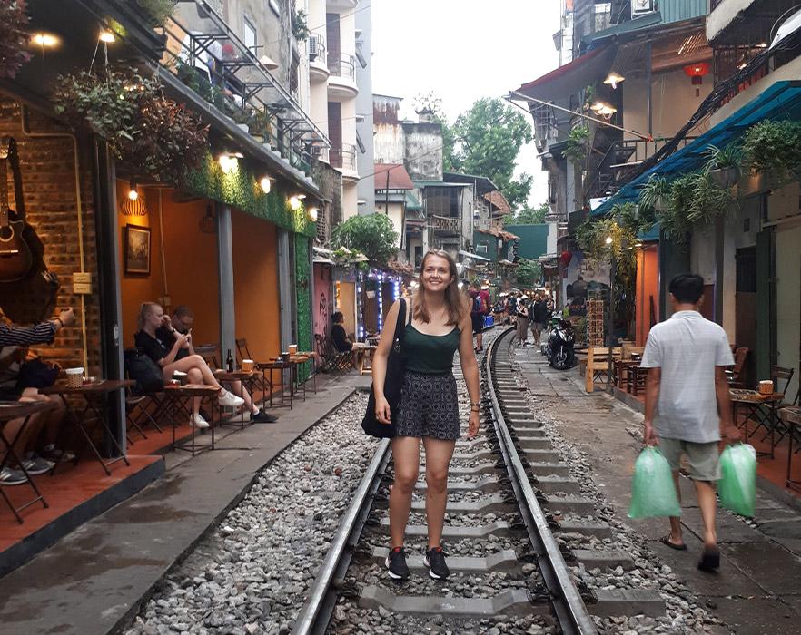 Kate on train street, Hanoi - Vietnam