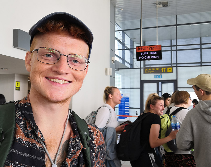 Mitch at Ho Chi Minh airport, Vietnam