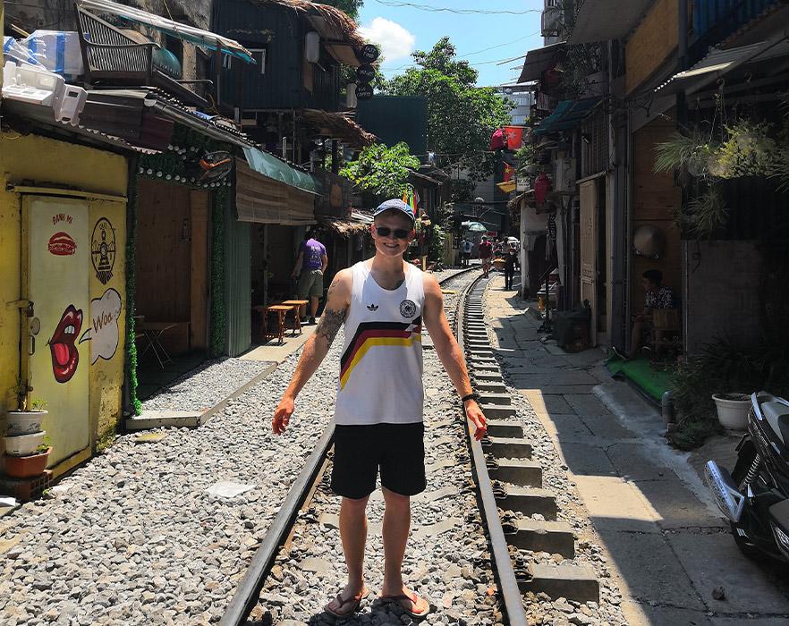 Mitch on train street - Hanoi