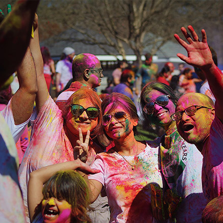 TEFL teachers at colour festival