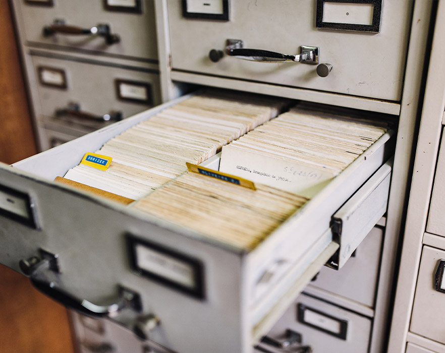Filing cabinet filled with files