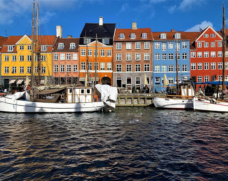 Houses on the water in Copenhagen, Denmark