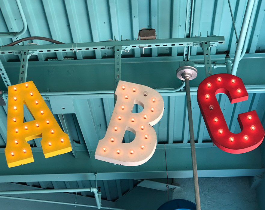 ABC lights hanging from ceiling