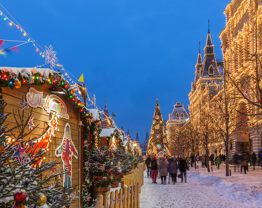 Christmas markets covered in snow