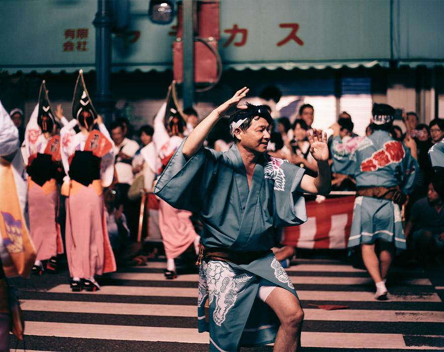 Japanese festival, man dancing