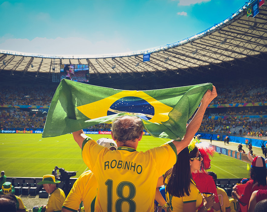 Man raising flag at Brazil football match