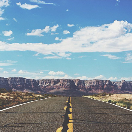 Road in front of mountains