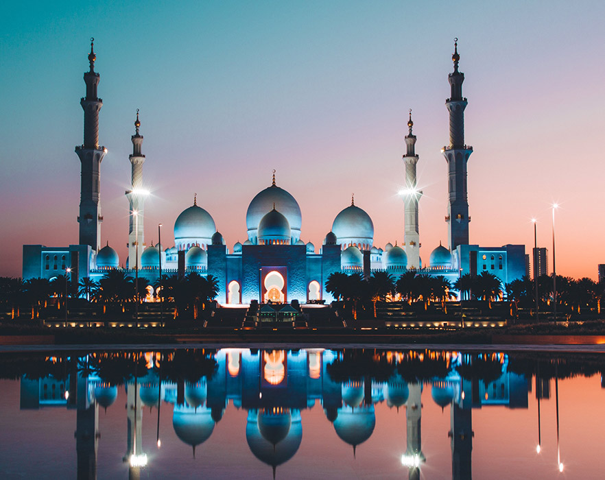 Sunset at mosque in Abu Dhabi
