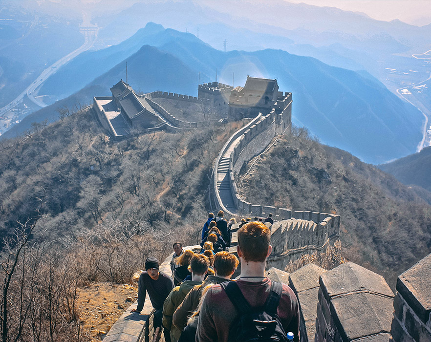 TEFLers walking the Great Wall of China on orientation