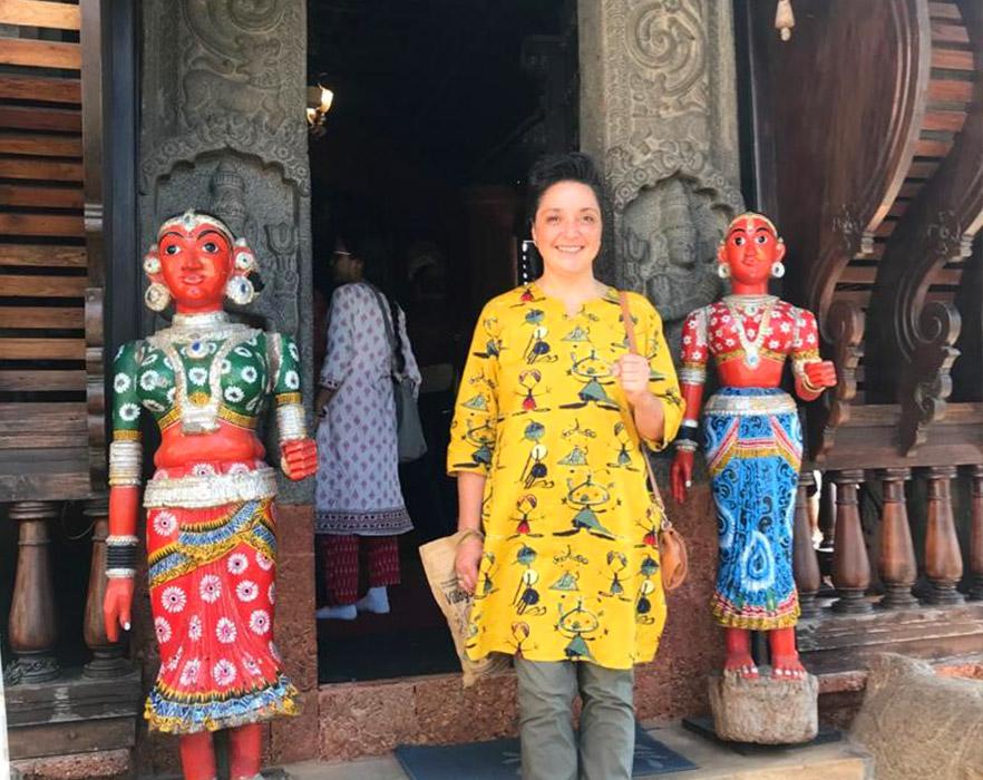 TEFL teacher Clare stood outside a temple