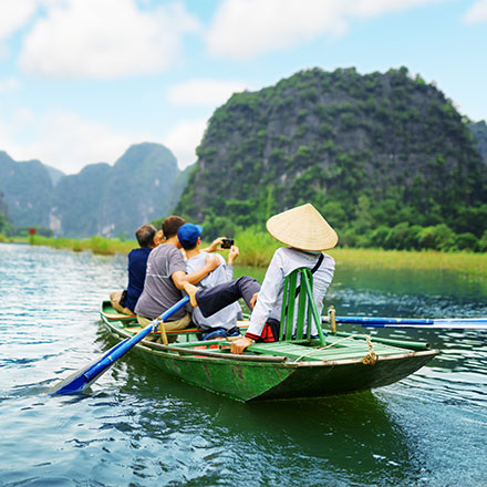 TEFL teachers in boat, Vietnam