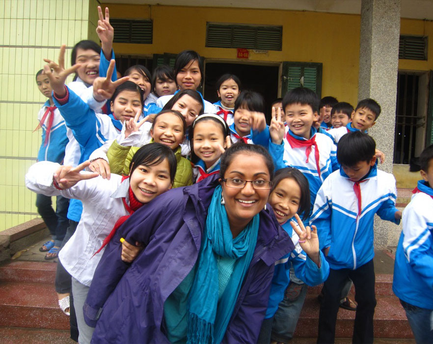 TEFL teacher with TEFL students, Vietnam