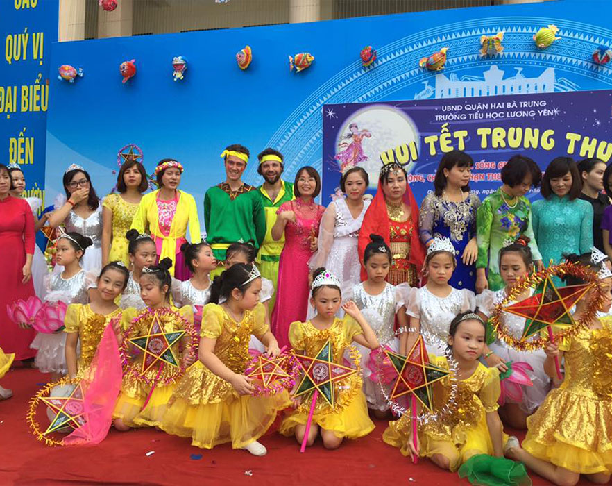 TEFL teacher with TEFL students at Vietnamese parade
