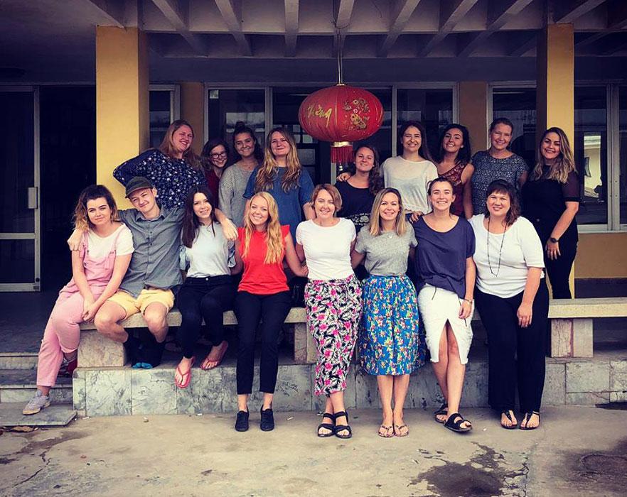 Vietnam TEFL interns on Womens day - Hanoi, Vietnam